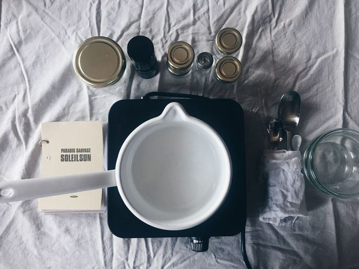High angle view of empty coffee cup on table