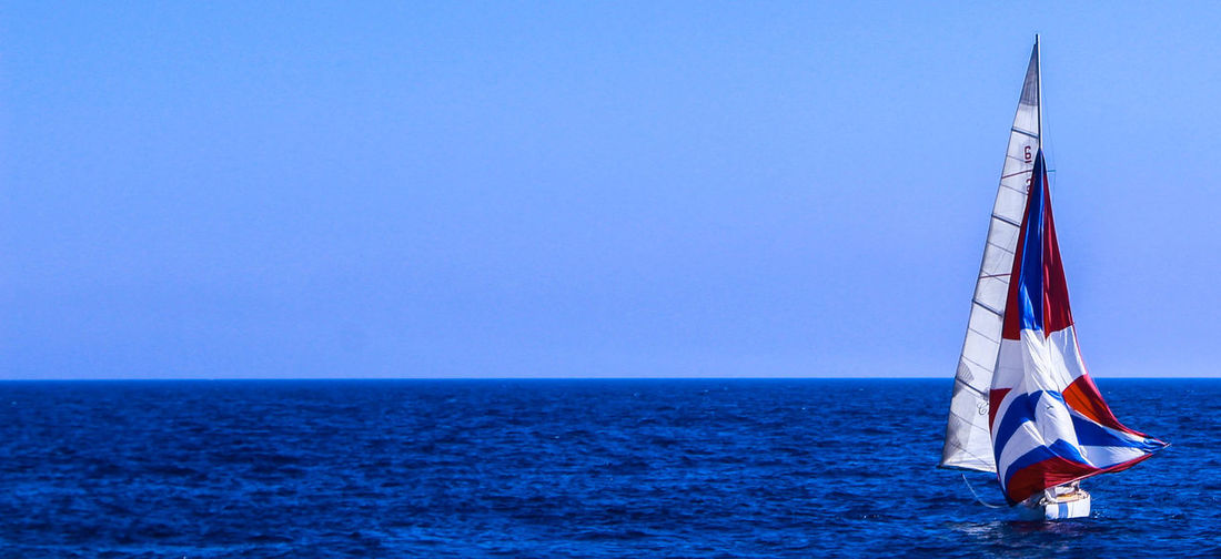 blue as the ocean or blue as the sky or blue as you and me Beauty In Nature Blue Blue Sky Clear Sky Horizon Over Water Marseille Mediterranean  Nature Nautical Vessel Ocean Outdoors Sailboat Sailing Scenics Sea Shardul Sky Tranquility Water
