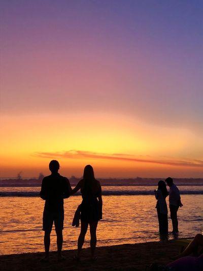Holiday Bali Seminyak Beach Sunset Sky Sea Water Beach Silhouette Orange Color Beauty In Nature Scenics - Nature First Eyeem Photo