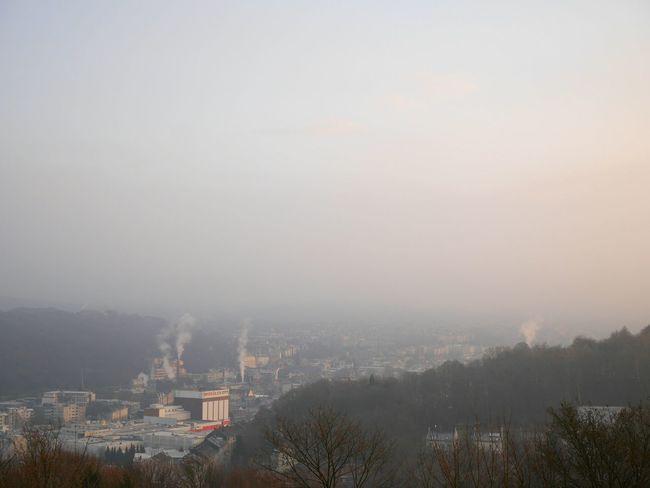 Skyline City Wuppertal Morning Sunrise Sky Fog Morning Sky Cold Day Foggy Morning Cold Temperature