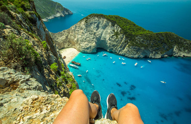 Water Low Section Sea Solid Human Leg One Person Rock Human Body Part Rock - Object Personal Perspective Leisure Activity Body Part Nature Lifestyles Scenics - Nature Blue Beauty In Nature Day Outdoors Human Foot Turquoise Colored Human Limb UnderSea Zakynthos Navagio Beach Shipwreck Shipwreck Beach Greece Beach View Beautiful Dangerous Legs Boats Slope High Angle View High Landscape Rocks And Water Rocks Blue Sea