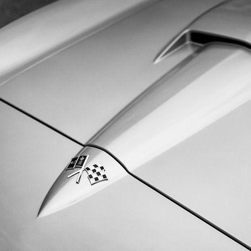 1966 Corvette Stingray Hood Detail 1960s Automobile Automovt Blackandwhite Blackandwhitephotography Car Cars Checkeredflag Classic Classic Car Classiccar Closeup Corvette CorvetteStingray Details Hood Midcentury Square Squareformat Vintage