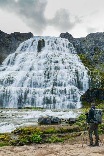 Adventure Backpack Beauty In Nature Behindthelens Camera - Photographic Equipment Full Length Hiking Lifestyles Long Exposure Men Motion Nature One Person Outdoors Photographer Real People Rock - Object Scenics Sky Standing Tripod Water Waterfall