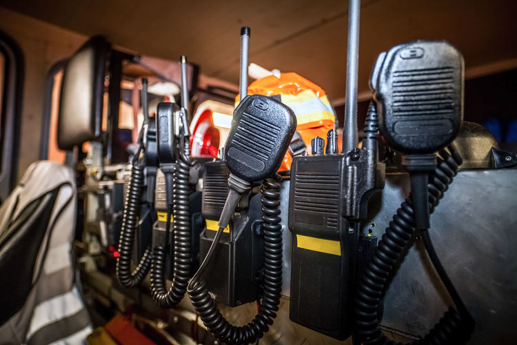Close-up of black walkie-talkies