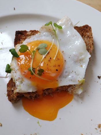Egg Food And Drink Food Indoors  Healthy Eating No People Plate Ready-to-eat Appetizer Freshness Egg Yolk Close-up Day Healthy Food Table Lunch Directly Above Fried Egg Toasted Bread Wood - Material Bread Plat