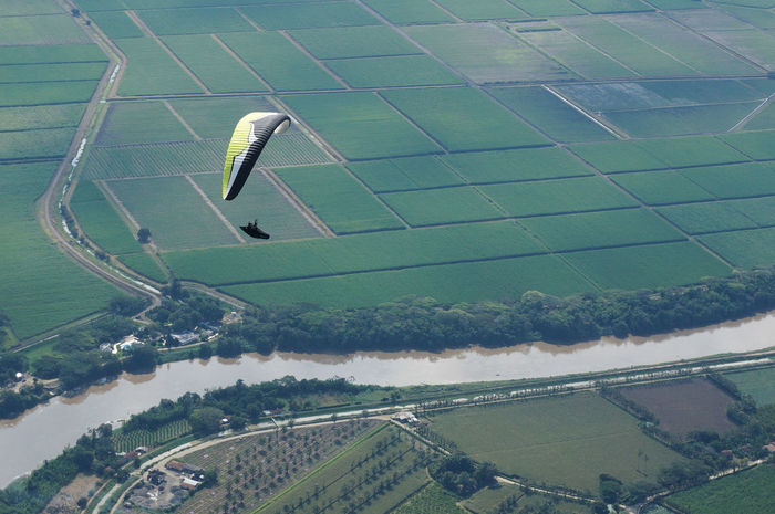 Aerial View Air Vehicle Cauca Day Field Flight Flying Grass Landscape Nature Outdoors Ozone Ozone Delta 2 Paraglider Parapente Patchwork Landscape River River View Tree