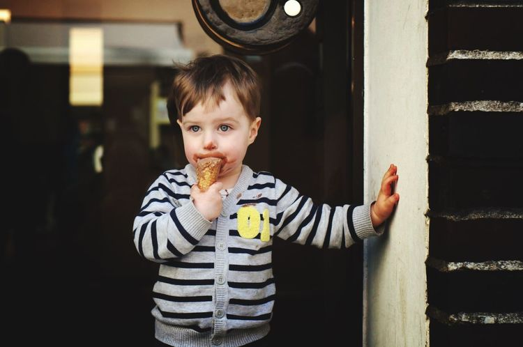 Boy with Icecream Usmforyou One Person Child Real People Standing Childhood Front View Casual Clothing Capture Tomorrow 2018 In One Photograph EyeEmNewHere
