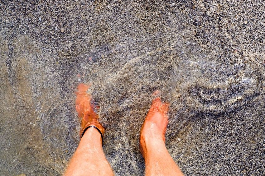 Sand Beach Barefoot Personal Perspective Standing Water Feet Anklet Sea