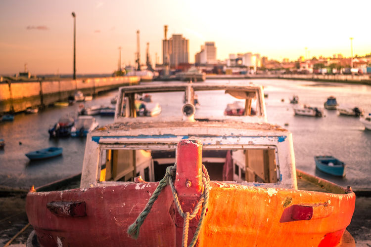 Boat Close-up Day Focus On Foreground Harbor Mode Of Transport Moored Nature Nautical Vessel No People Orange Color Outdoors Sea Sky Sunset Transportation Water