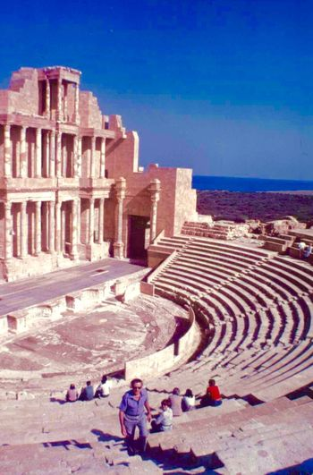 The magnificent ampitheatre at Leptis Magna, Libya. Taken in less troubled times in Libya. Leptis Magna Libya History Architecture Ancient Civilization Roman Amphitheater