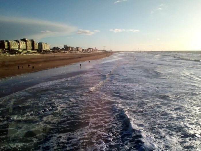 City Cityscape Urban Skyline Sunset Water Sea Beach Wave Sand Skyscraper Tide Rippled