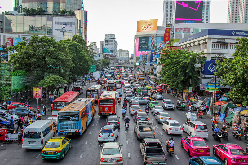 Traffic Jam Bus Car Cat City On The Move Taxi Thailnad Traffic Traffic Traffic Jam Transportation Vehicle