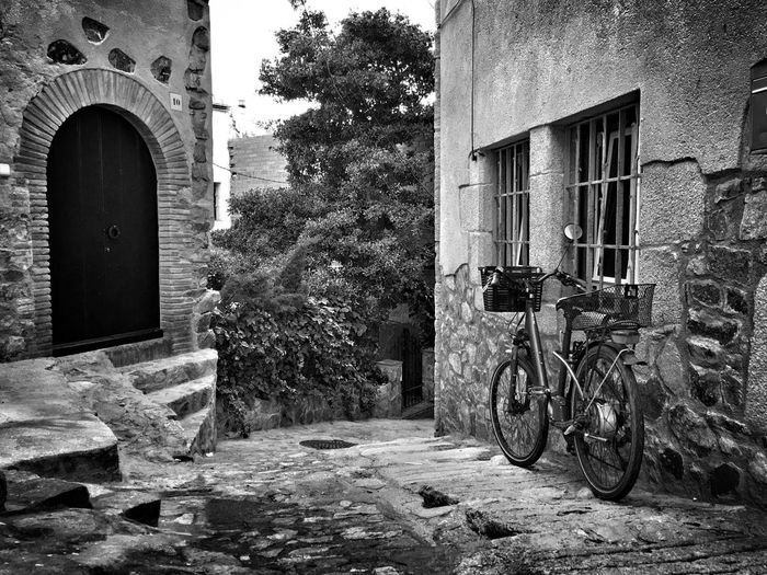 Secrets of an old city Architecture Building Exterior Built Structure Tree Outdoors No People Day City Bicycle Blackandwhite HDR Old City Spain Street Tossa De Mar Door And Bicycle Travel Destinations