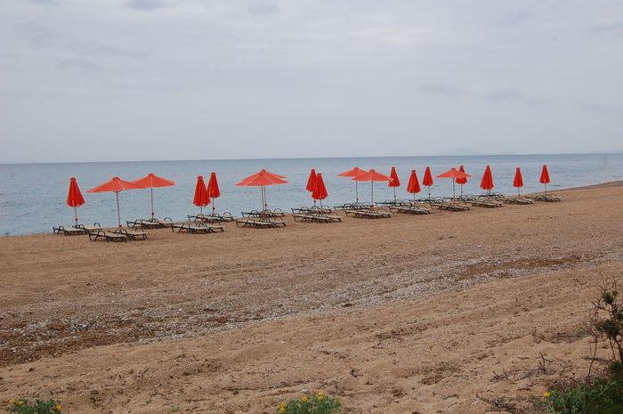 Empty beach in Greece Beach Beach Bed Beach Day Cloudly Day Greece Hotel Beach Kefalonia, Greece No People Outdoors Peaceful Season  Travel Travel Destinations