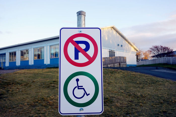 No Parking Sign Outdoors Parking Road Sign Wheelchair Access Wheelchair Sign