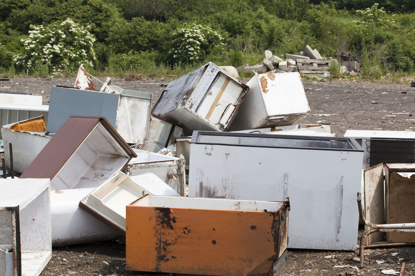 Old home appliances dumped at the landfill Contamination Disposal Fridge Garbage Dump Nature Consumerism Consumption  Dump Environment Freezer Fridges Garbage Home Appliances Household Appliances Junkyard Landfill Old Outdoors Pollution Recycle Recycling Recycling Center Waste Waste Disposal Waste Management