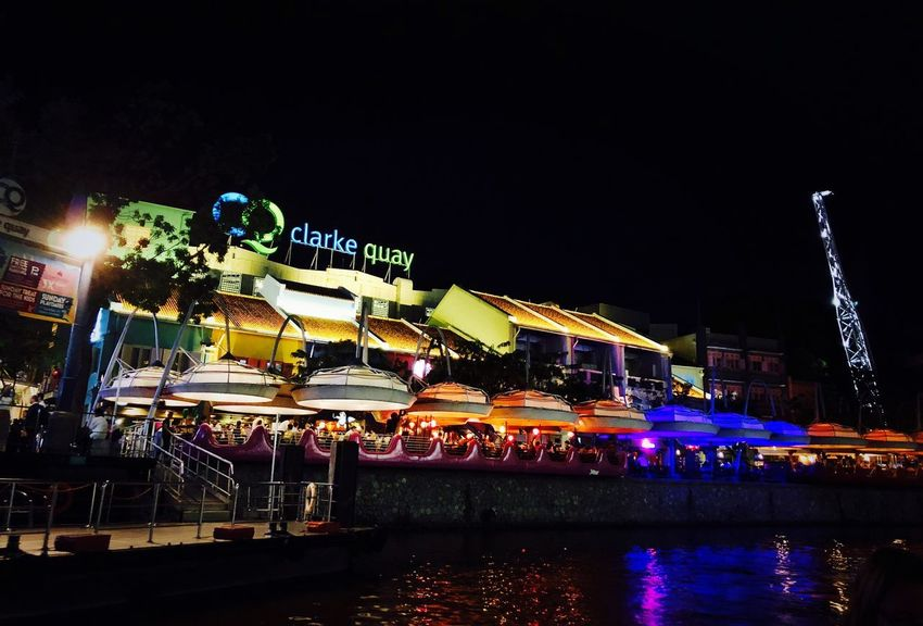 Singapore Clarke Quay Night Illuminated Sky Water Architecture Arts Culture And Entertainment Building Exterior Nature Built Structure Amusement Park No People Clear Sky Copy Space City Outdoors Amusement Park Ride Text Lighting Equipment Travel Destinations Nightlife