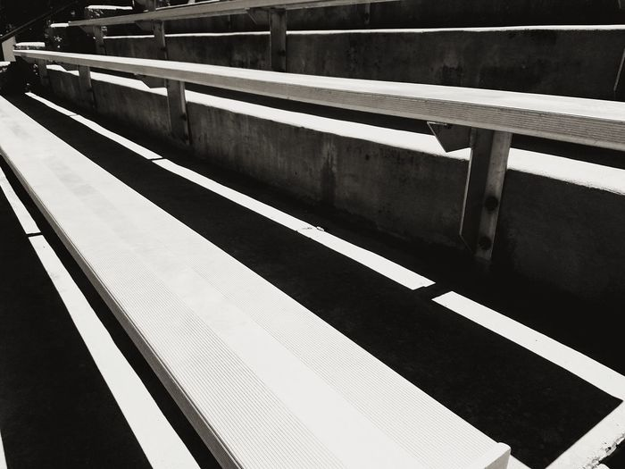 Softball Game Day Steps Step Bench Seating Baseball Sport Stadium Architecture Outdoors Black White Black And White Black And White Photography LINE Lines Symmetry Pattern Close-up Railing