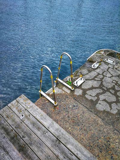 High angle view of pier over lake