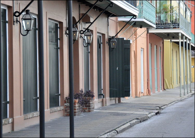New Orleans Architecture New Orleans, LA Architecture Building Exterior Built Structure Day French Quarter Architecture No People Outdoors Pastel Colors Street Lights