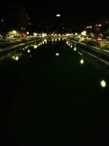 Night Illuminated Outdoors City River