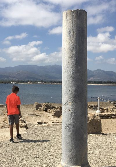 Nora, Sardinia Contrast Bright Shirt Red Shirt Water Rear View Sky Lifestyles Full Length