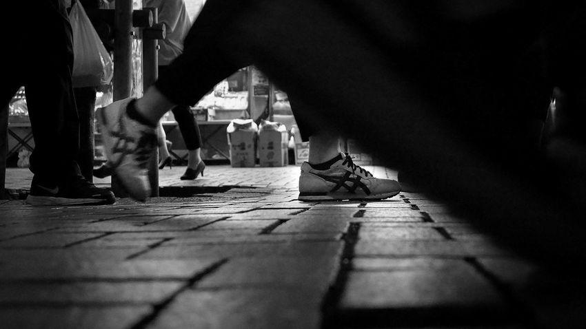 Warking Around Low Angle View Traffic Jam City Night Photography Monochrome Low Section City Men Human Leg Footwear Sidewalk Ground Zebra Crossing City Street Stone Tile Crosswalk Street Scene HUAWEI Photo Award: After Dark