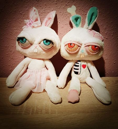 Handmade Halloween bunny couple No People Plush Toy Plush Plush Bunny Halloween Zombie Art Handmade Scary Ugly Cute Animal