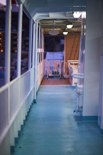 Illuminated deck of a cruise ship