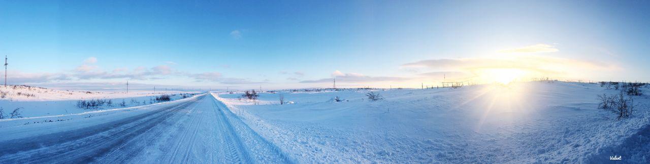 Teriberka Sunlight EyeEmNewHere Teriberka Sky Snow Cold Temperature Winter Road The Way Forward Direction