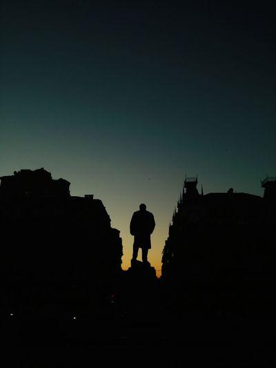 Silhouette Tarasshevchenko Monument Urban Geometry Ukraine