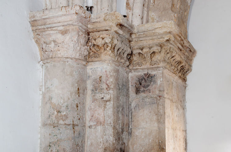 Jerusalem, Israel, July 14, 2016 : Fragment of the interior of the Room of the Last Supper in Jerusalem, Israel. Antique Christianity Church City Jesus Room Sightseeing Tourist Travel Apostles Architecture Bible Culture Design Detail Fragment History Holy Israel Jerusalem Landmark Old Prayer Religious  Stone