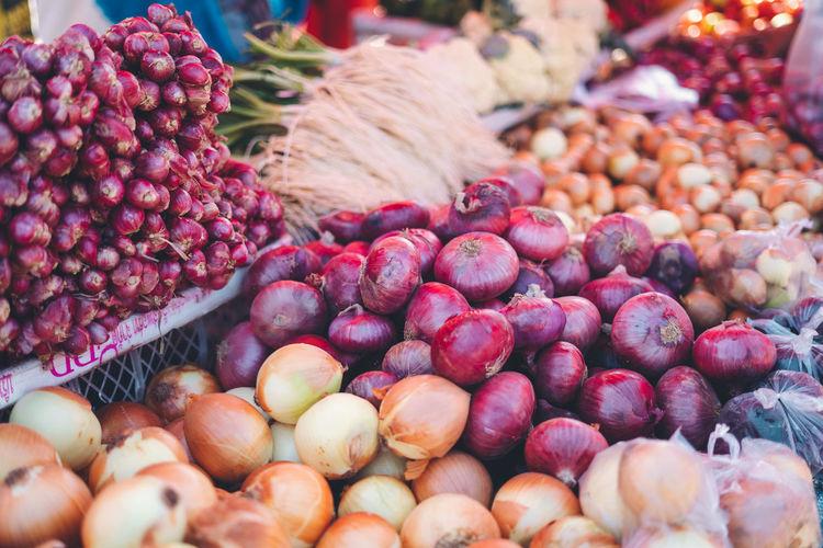 Full frame shot of vegetables for sale at market