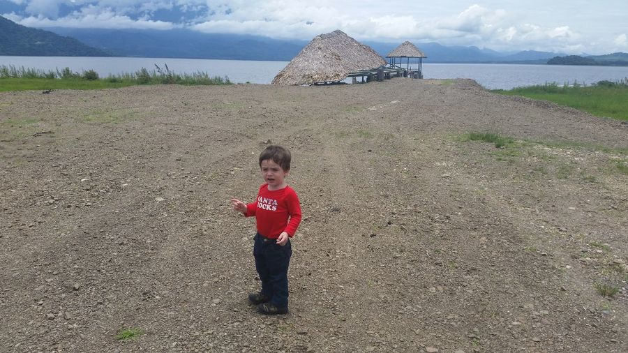 My Son❤ Water One Person Nature Nature Lake Mountains Blue Sky Clouds Child Looking At Camera My Life Lage My Love Vacations My Son ❤ Horizon Over Water