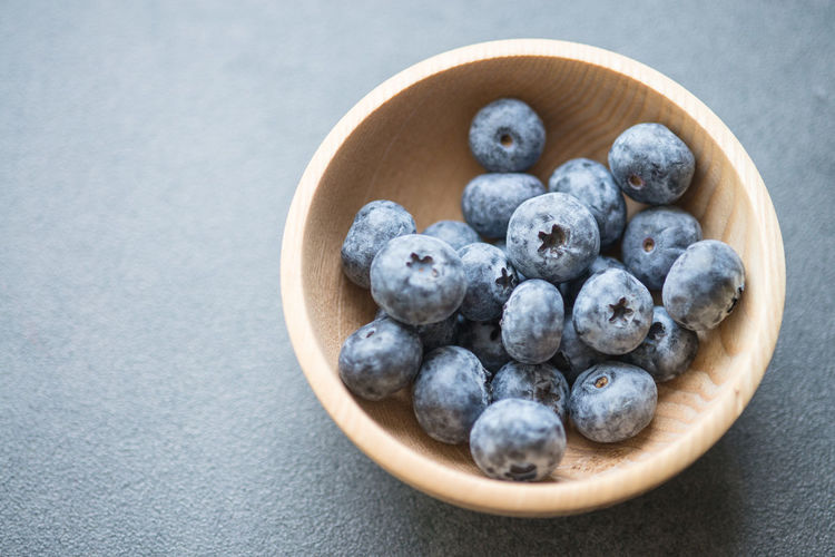 Directly above shot of blueberries in bowl