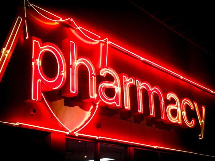 Apotheke / Pharmacy Illuminated Lighting Equipment Neon Red No People Night Communication Text