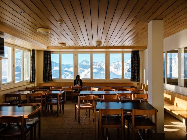 Room with a view... Swiss Alps Bonistock Window Indoors  Table Ceiling Chair Day Dining Room