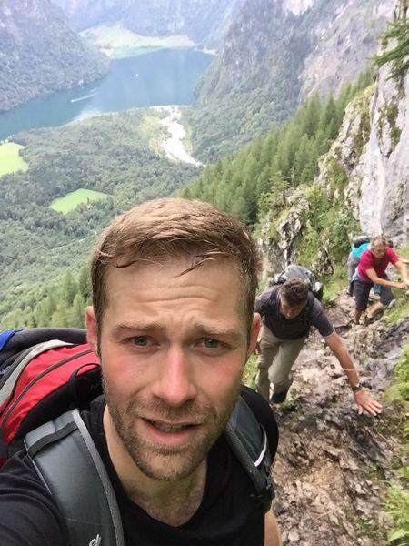 Climbing A Mountain German Alps Blonde Hair Blue Eyes