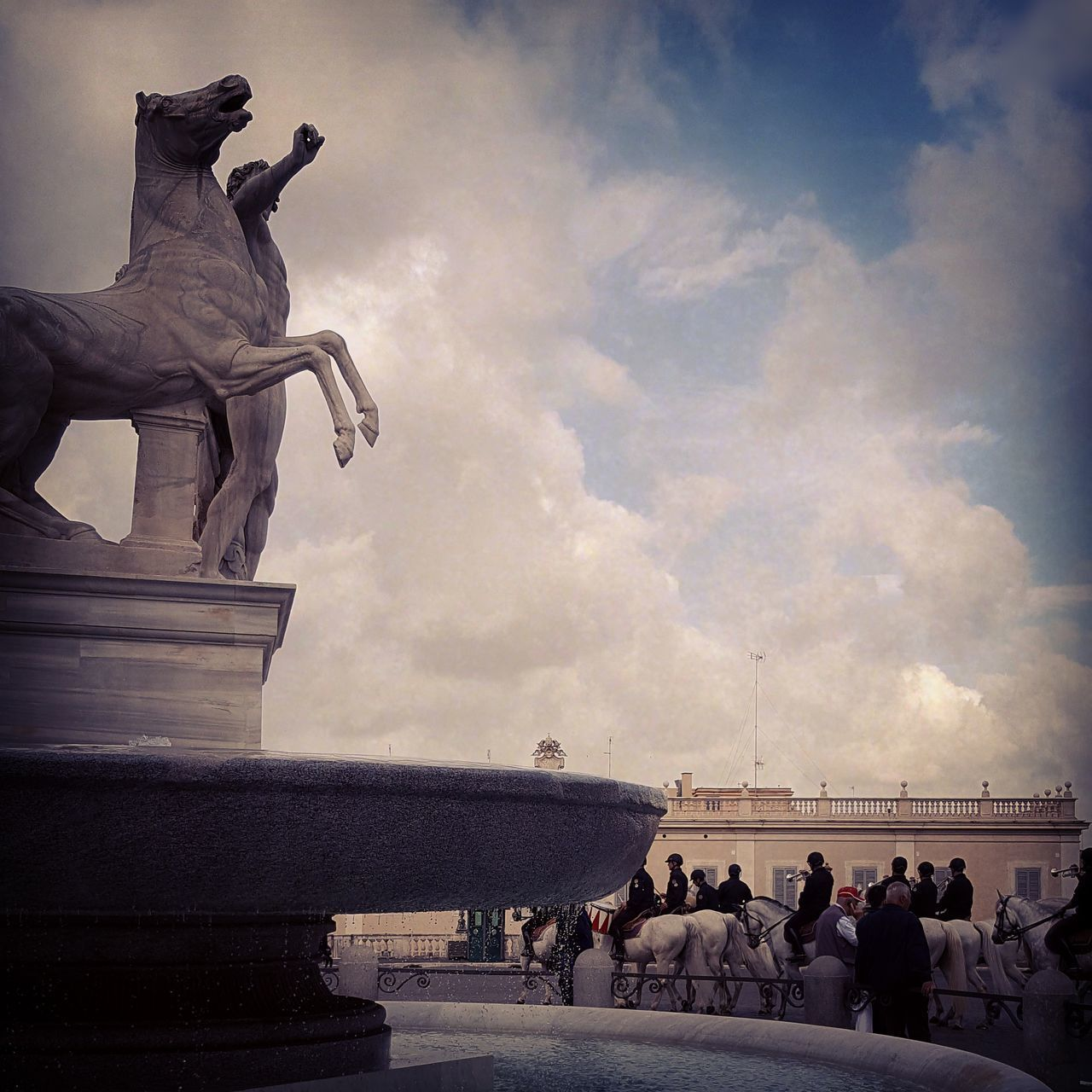 sculpture, sky, art and craft, architecture, cloud - sky, statue, group of people, large group of people, representation, crowd, human representation, real people, nature, women, built structure, travel, travel destinations, water, male likeness, building exterior