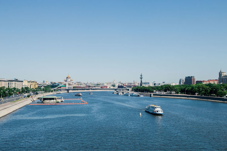 view of the Moscow river Architecture Water Building Exterior City Transportation Nautical Vessel Sky Built Structure Copy Space Mode Of Transportation Nature Ship No People Building Sea Day Clear Sky Cityscape Waterfront Passenger Craft Outdoors Yacht Cruise Ship