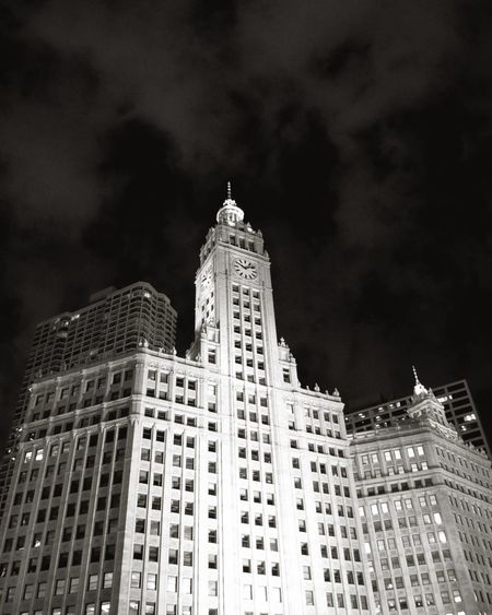 Chicago Wrigley Building Architecture Building Building Exterior Built Structure City Cloud - Sky Financial District  Illuminated Low Angle View Modern Nature Night No People Office Building Exterior Sky Skyscraper Spire  Tall - High Tower Travel Destinations Window
