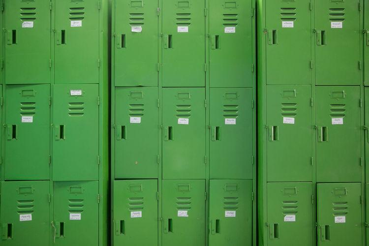 Full Frame Shot Of Green Lockers
