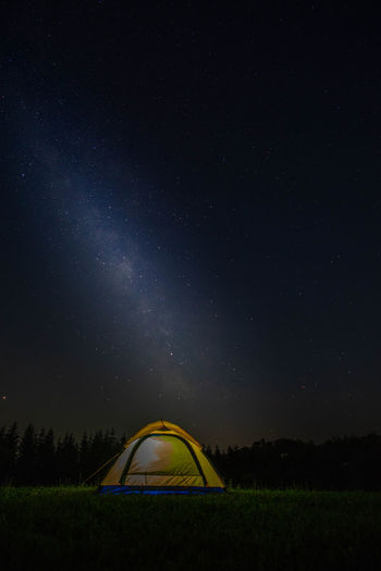 Astronomy Beauty In Nature Camping Environment Field Idyllic Illuminated Land Nature Night No People Scenics - Nature Sky Space Star Star - Space Star Field Tent Tranquil Scene Tranquility
