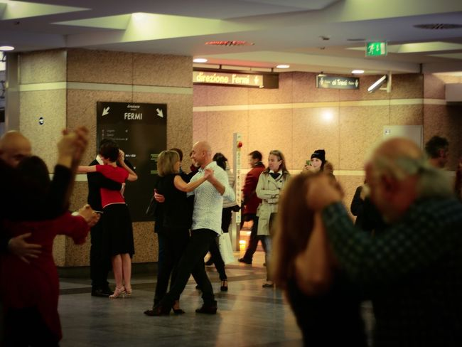 Dancing in the metro Dancing Metro Metro Station Event Group Of People Couples Evening Adult Party - Social Event Togetherness Commuting Point City Turin Italy Real People