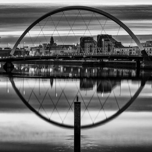 Circle Cityscape Cloud Glasgow  Reflection Ripples River Clyde Scotland Silhouette Squinty Bridge Sun Rise Blackandwhite Clyde Arc Frame Long Exposure Monochrome Sky Urban