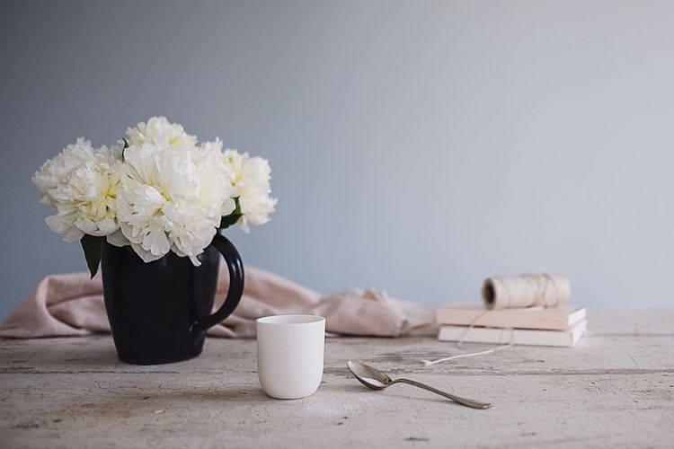 Morning Coffee Espresso Table Still Life Bouquet Flower Vase Flower Arrangement No People Close-up Still Life Photography Muted Colors Rosé Linen