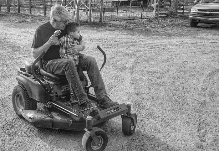 With grandpa at the farm Family❤ Black&white HDR Life<3