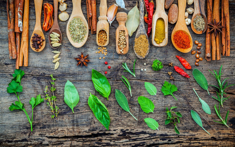 Directly Above Shot Of Spices And Herbs On Wooden Table