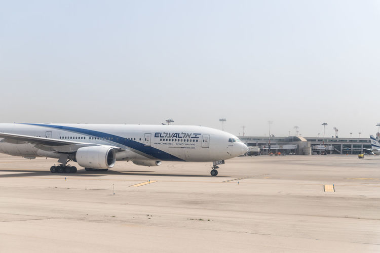 Tel Aviv, Israel, May 01, 2019 : The plane of the Israeli airline El Al is moving on the runway of Ben Gurion International Airport, near Tel Aviv in Israel Israel Ben Gurion International Airport Information Stand Flight Terminal Transportation Travel Destinations Trip Passenger Departure Arrival Plane Hall Tourism Destination Air Business People Registration Vacations Passport Jet Airliner Border Security Change