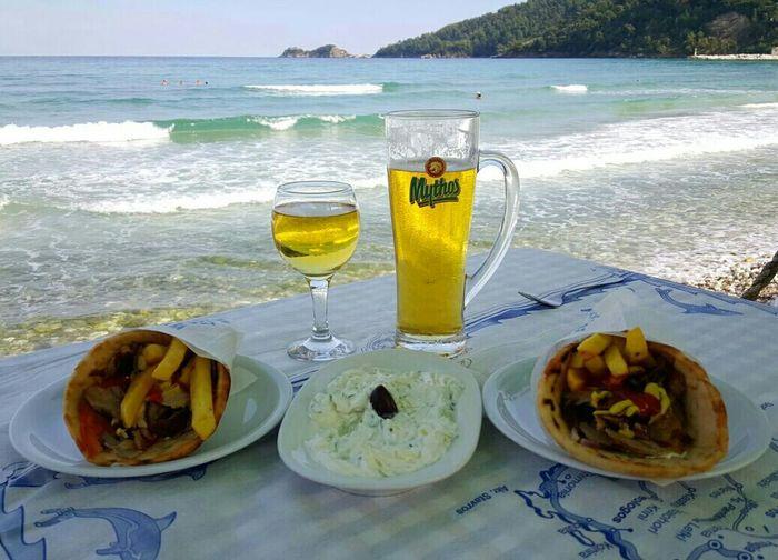 Retsina, mythos beer and delicious gyros in Skala Potamia, Thasos Greece A Taste Of Life Taking Photos Check This Out Hello World Hi! Enjoying Life Enjoying The View Beach Nature My World Of Food